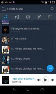 Digital Audio Player von FiiO Modell X7. Die Dateien sind nach fünf Kategorien sortiert: Song, Künstler, Album, Genre und Ordneransicht.