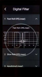 Digital Audio Player von iBasso Modell DX200. Es lassen sich sechs Equalizer-Einstellungen abspeichern, die Impulsantwort der Digitalflter wird sogar simuliert dargestellt (hier unter Android).