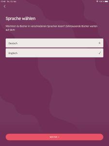 Nextory Sprachauswahl