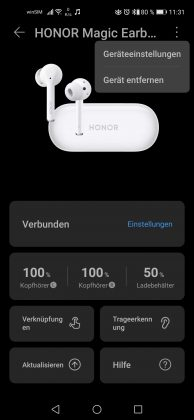 HONOR Magic Earbuds Screenshot HUAWEI AI Life App 2 - Einstellungen